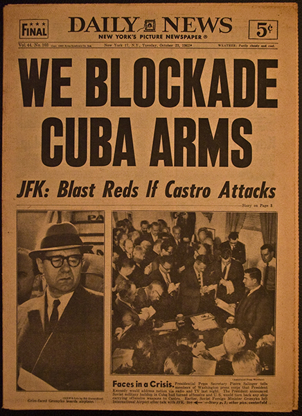 The New York Daily News headline of October 23, 1962 says that United States will blast Reds if Castro attacks the United States.