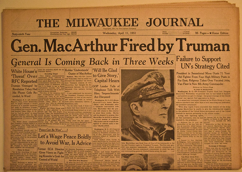 Image result for president truman relieved general douglas of macarthur of duty