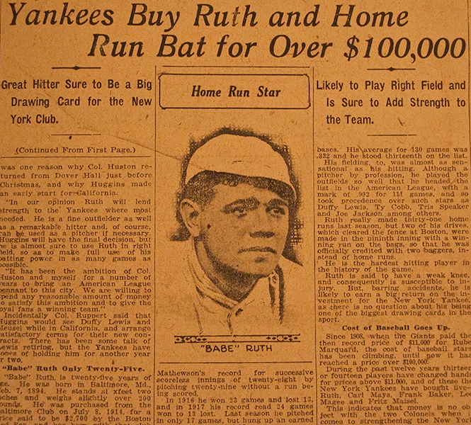 Babe Ruth Sold to The Yankees