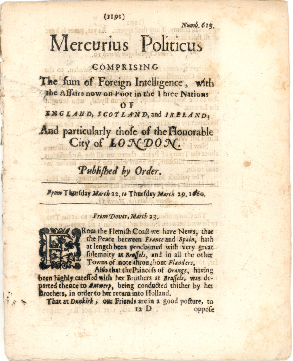 1660 ENGLISH NEWSBOOK - PUBLISHED DURING THE COMMONWEALTH PERIOD ...